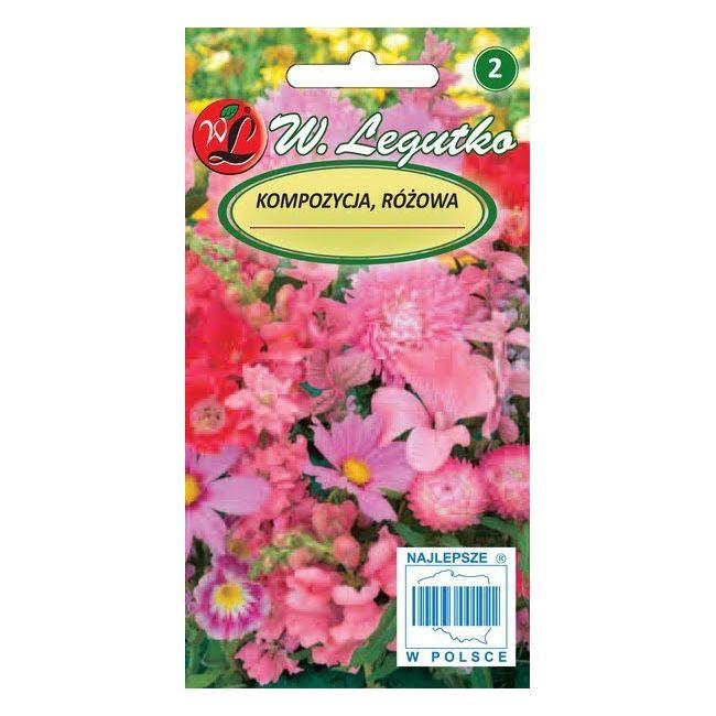 Kompozycja jednobarwnych roślin jednorocznych - różowa