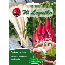 Zestaw nasion: pietruszka korzeniowa Halblange (Berlińska) i rzodkiewka wielobarwna o grubieniach walcowatych - taśma 6m