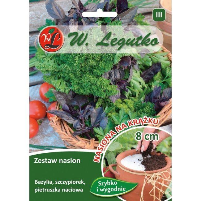 Mieszanka ziół: bazylia, szczypiorek, pietruszka naciowa o liściach gładkich i kędzierzawych - krążek - 3szt.