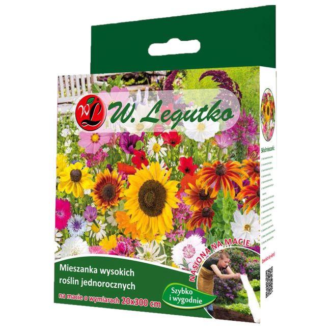 Mieszanka wysokich roślin jednorocznych - mata 20x300 cm