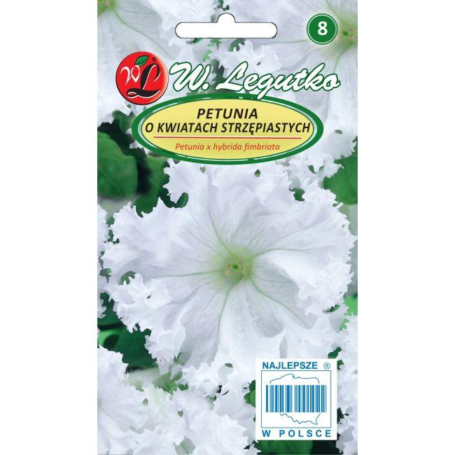 Petunia o pędach zwisających, kwiaty postrzępione - biała