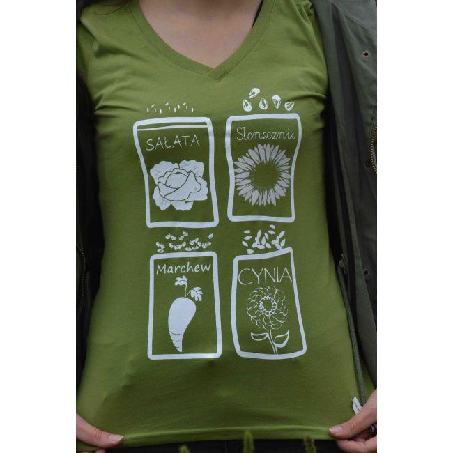 T-Shirt - Sałata, Słonecznik, Marchew, Cynia - rozmiar L