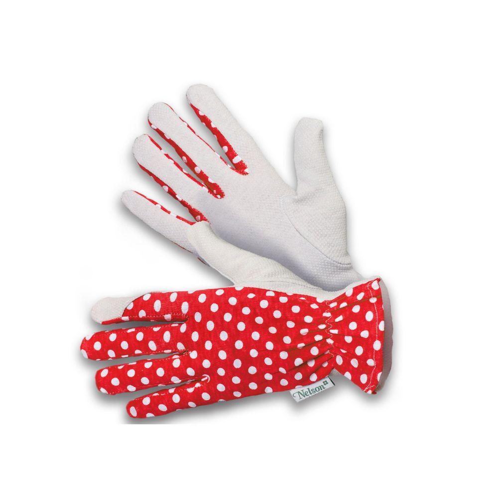 Rękawice ogrodnicze Gentle - czerwone w białe groszki - rozmiar 9