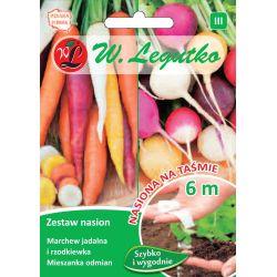 Zestaw nasion: marchew jadalna wielobarwna i rzodkiewka wielobarwna o zgrubieniach kulistych - taśma 6m