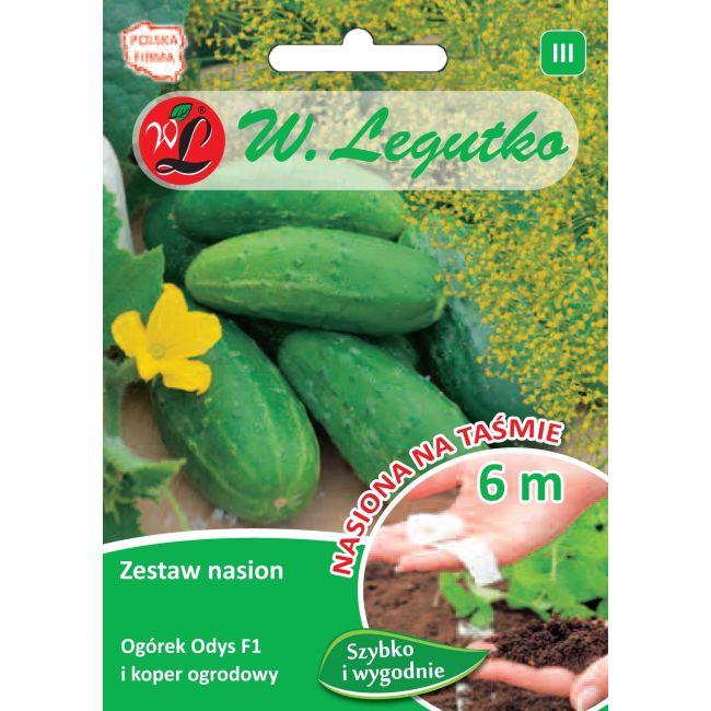 Zestaw nasion: ogórek gruntowy konserwowy Odys F1 i koper ogrodowy - taśma 6m