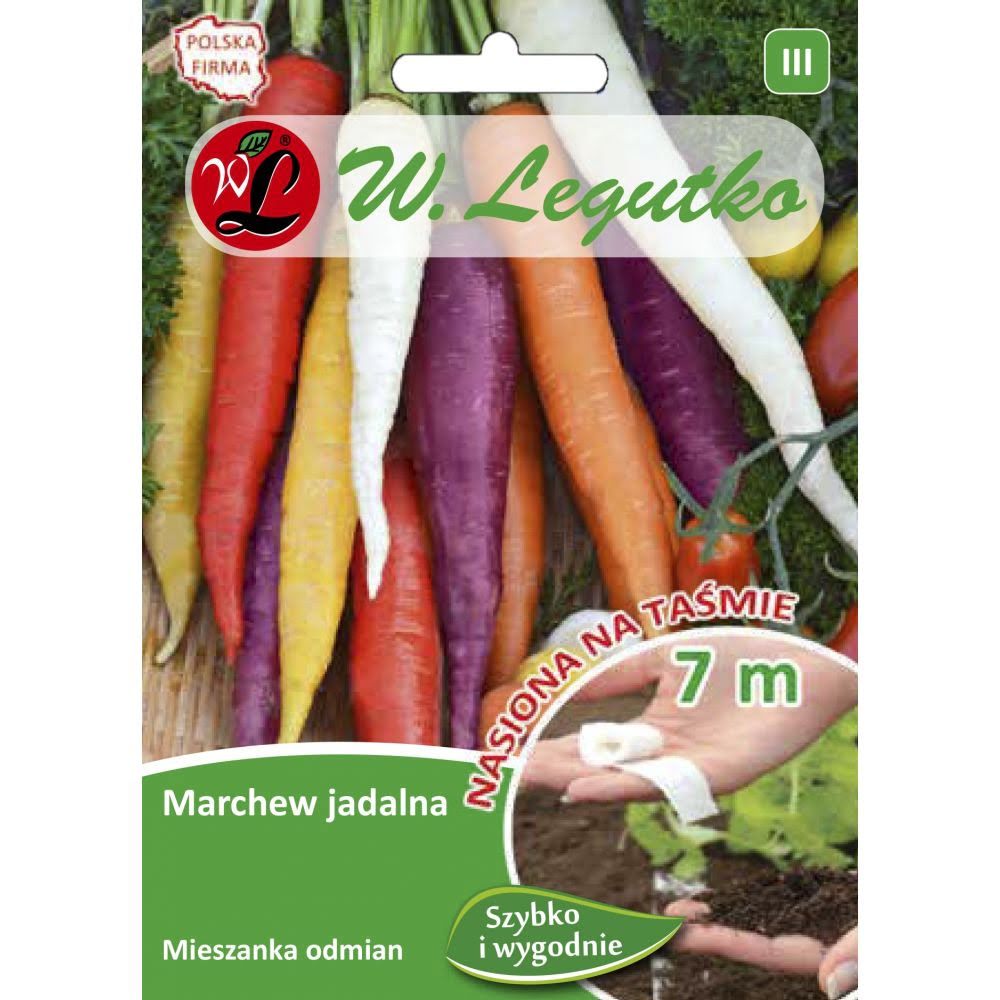 Marchew jadalna - mieszanka odmian kolorowych - taśma 7m
